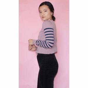 (329) j crew mauve striped sleeve sweater